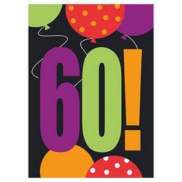 60-as Birthday Cheer Szülinapi Parti Meghívókártya és Boríték - 8 db-os