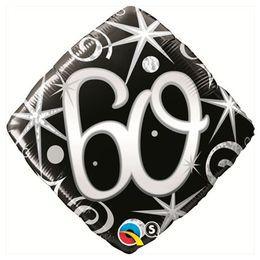 Elegáns Fekete 60-as Szülinapi Héliumos Fólia Lufi, 46 cm
