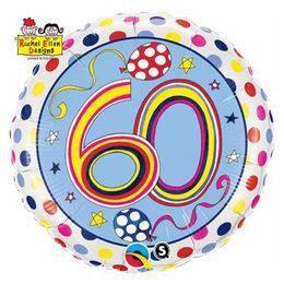 18 inch-es 60-as Számos Polka Dots and Stripes Szülinapi Héliumos Fólia Lufi