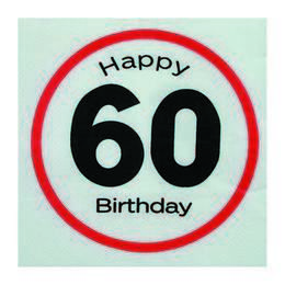 Happy Birthday 60-as Sebességkorlátozó Szülinapi Parti Szalvéta - 33 x 33 cm, 20 db-o
