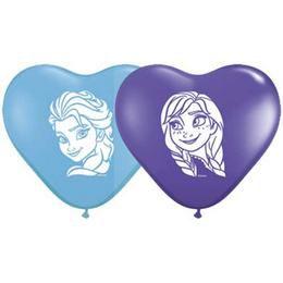 6 inch-es Frozen - Anna & Elsa Faces Special Assortment Szív Lufi (100 db/csomag)