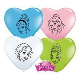 6 inch-es Hercegnők - Disney Princess Faces Special Assortment Szív Lufi (100 db/csom