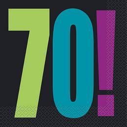 70-es Birthday Cheer Szülinapi Parti Szalvéta - 33 cm x 33 cm, 16 db-os