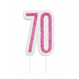 70-es Csillámos Pink Számgyertya