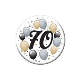 70-es Elegáns Léggömbös Szülinapi Számos Parti Kitűző - 5,5 cm