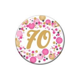 70-es Rózsaszín Pasztell Konfettis Kitűző