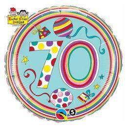 18 inch-es 70-es Számos Polka Dots and Stripes Szülinapi Héliumos Fólia Lufi