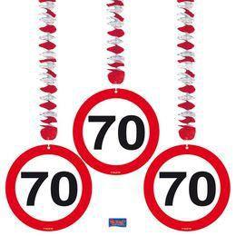 70-es Számos Sebességkorlátozó Szülinapi Parti Függő Dekoráció - 3 db-os