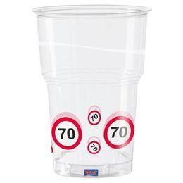 70-es Sebességkorlátozó Számos Szülinapi Műanyag Parti Pohár - 350 ml, 10 db-os