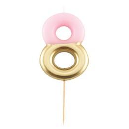 8-as Pink Arany Színű Szülinapi Gyertya
