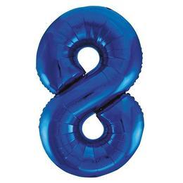 8-as Kék Számos Héliumos Fólia Lufi, 86 cm