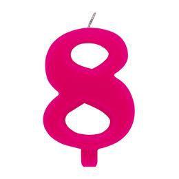 8-as Rózsaszín Szülinapi Számgyertya Tartóval