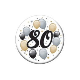 80-as Elegáns Léggömbös Szülinapi Kitűző