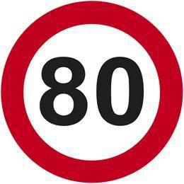 80-as Számos Sebességkorlátozó Közlekedési Tábla Szülinapra, 40 cm