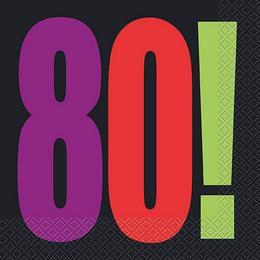 80-as Birthday Cheer Szülinapi Parti Szalvéta - 33 cm x 33 cm, 16 db-os