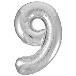 9-es Ezüst Szám Héliumos Fólia Lufi, 86 cm