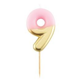 9-es Pink Arany Színű Szülinapi Gyertya