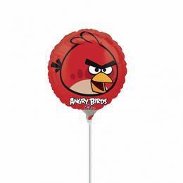 9 inch-es Piros Madár - Angry Birds Mini Shape Fólia Lufi Pálcán