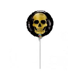 9 inch-es Arany Koponya Mintás - Golden Skull Head Halloween Fólia Lufi (5 db/csomag)