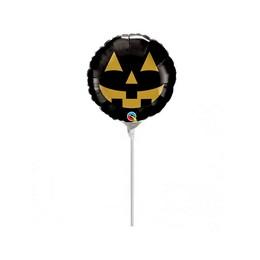 Fekete Arany Halloween Tök Levegős Fólia Lufi Pálcán, 23 cm