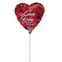 9 inch-es I Love You Roses Szerelmes Mini Shape Fólia Lufi