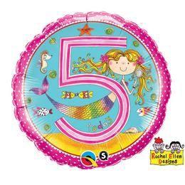 18 inch-es 5-ös Számos Sellő Pöttyös Mermaid Polka Dots Szülinapi Héliumos Fólia Lufi