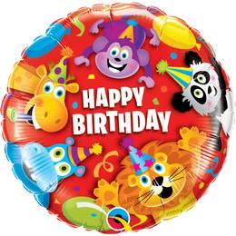 18 inch-es Birthday Party Animals Szülinapi Héliumos Fólia Lufi
