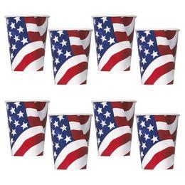 Amerikai Zászlós Parti Pohár - 8 db-os, 270 ml