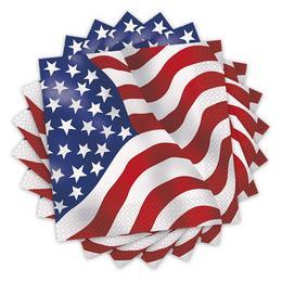 Amerikai Zászlós Parti Szalvéta - 16 db-os, 33 cm x 33 cm