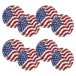 Amerikai Zászlós Parti Tányér - 8 db-os, 21 cm
