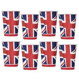 Angol Zászló Mintás Parti Papír Pohár - 270 ml, 8 db-os