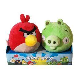 Angry Birds - Piros Madár és Zöld Malac Plüss Pár - 10 cm-es