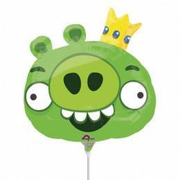 Angry Birds - King Pin - Zöld Király Malac Mini Shape Fólia Lufi Pálcán