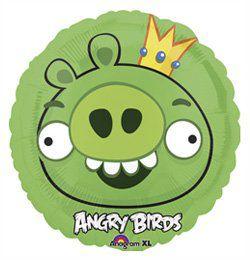 18 inch-es Angry Birds - Zöld Király Malac - Héliumos Fólia Lufi