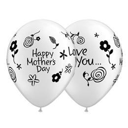 Anyák Napi Lufi - Mother's Day Love You, Gyöngyfehér, 28 cm, 25 db