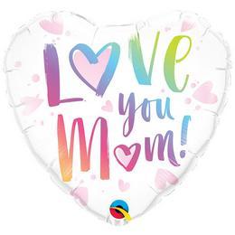 Anyák Napi - Love Mom - Szeretlek Anya Szív Alakú Héliumos Fólia Lufi
