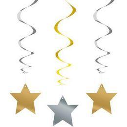 Arany-Ezüst Csillag Spirális Függő Dekoráció - 3 db-os