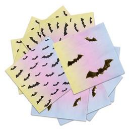 Arany Fekete Denevér Mintás Pasztel Színű Szalvéta Halloween-re