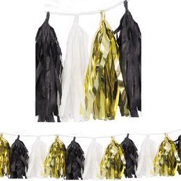 Arany-Fekete-Fehér Girland Dekorációs Füzér - 274 cm