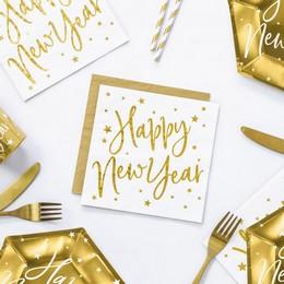 Arany Happy New Year Feliratos Fehér Szilveszteri Szalvéta - 33 cm x 33 cm, 20 db-os