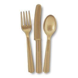 Gold Műanyag Parti Evőeszköz Válogatás - 18 db-os