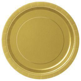 Gold Papír Parti Tányér - 23 cm, 8 db-os