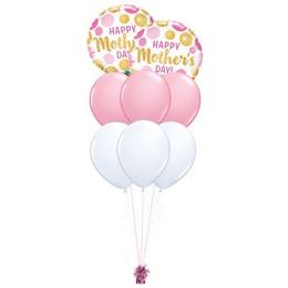 Arany Pink Pöttyös – Anyáknapi prémium léggömbcsokor