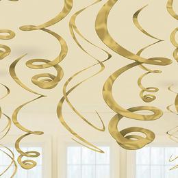 Arany Spirális Függő Dekoráció - 56 cm, 12 db-os