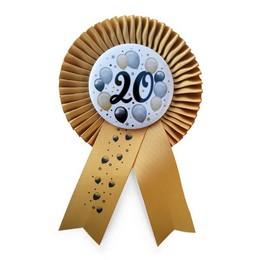 20-as Arany Szalagos Kitűző Elegáns Léggömbös Mintával