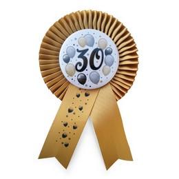 Arany Szalagos 30-as Elegáns Léggömbös Szülinapi Számos Parti Kitűző