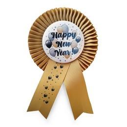 Arany Szalagos Happy New Year! Elegáns Léggömbös Szilveszteri Parti Kitűző