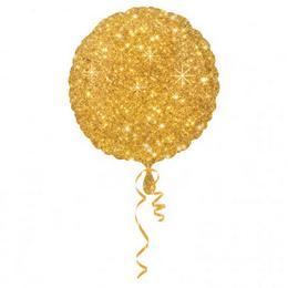 Arany Szikrázó - Csillag Mintás Kerek Héliumos Fólia Lufi, 46 cm