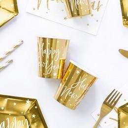Arany Színű Happy New Year Feliratos Fényes Pohár Szilveszterre - 220 ml, 6 db-os