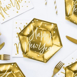 Arany Színű Happy New Year Feliratos Hatszögletű Fényes Tányér Szilveszterre